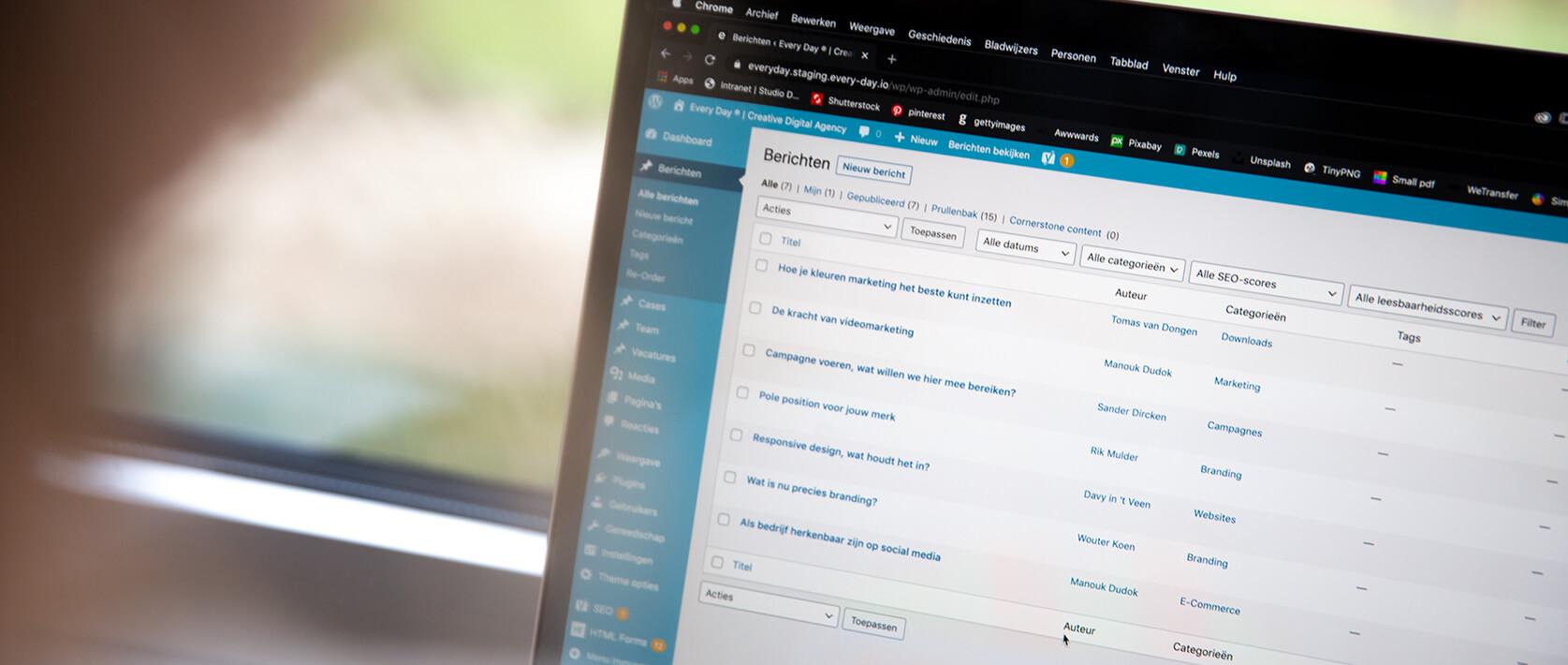 Ontwikkelen websites op basis van WordPress